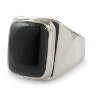 Art of Life Modern Rectangular Black Jade Gemstone Set in Highly Polished 925 Sterling Silver Mens Ring (Guatemala)