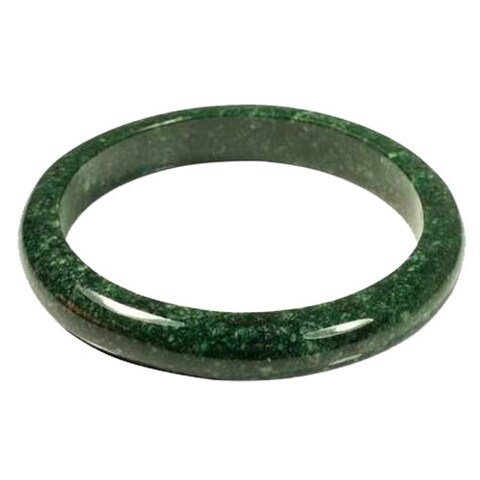 Handmade Circle in the Forest Polished Solid Mottled Green Jade Gemstone 7.5 Inch Inner Circumference Bangle (Guatemala)