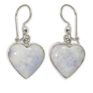 Sterling Silver 'Lilac Love Immemorial' Jade Earrings (Guatemala)