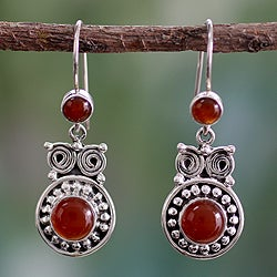 Sterling Silver 'Fire Owl' Carnelian Earrings (India)