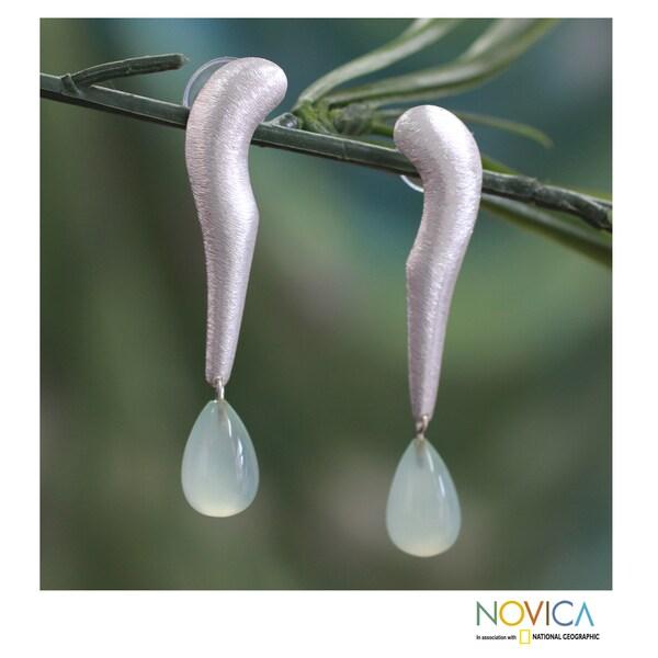 Sterling Silver 'Serenity Goddess' Aquamarine Earrings (India)