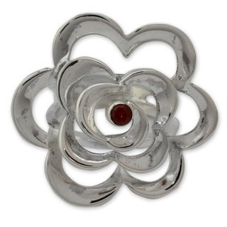 Handmade Sterling Silver 'Rose of Love' Garnet Ring (India)