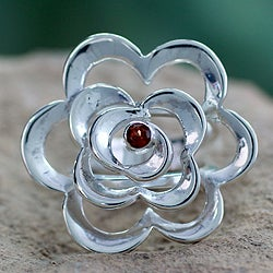 Sterling Silver 'Rose of Love' Garnet Ring (India)