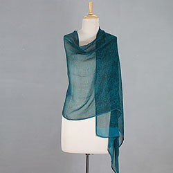 Handcrafted Silk 'Indian Turquoise' Shawl (India)