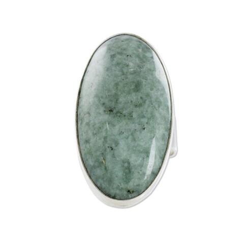 Handmade Sterling Silver 'Sixth Star' Jade Ring (Guatemala)