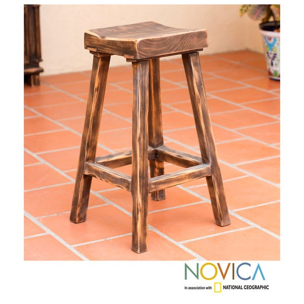 Handmade Pinewood Vintage Brown Ranch Bar Stool Mexico