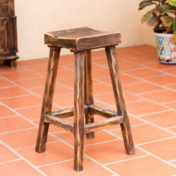 Handcrafted Pinewood 'Vintage Brown Ranch' Bar Stool (Mexico)