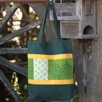 Handmade Cotton 'Love of the Forest' Batik Shoulder Bag (Thailand)
