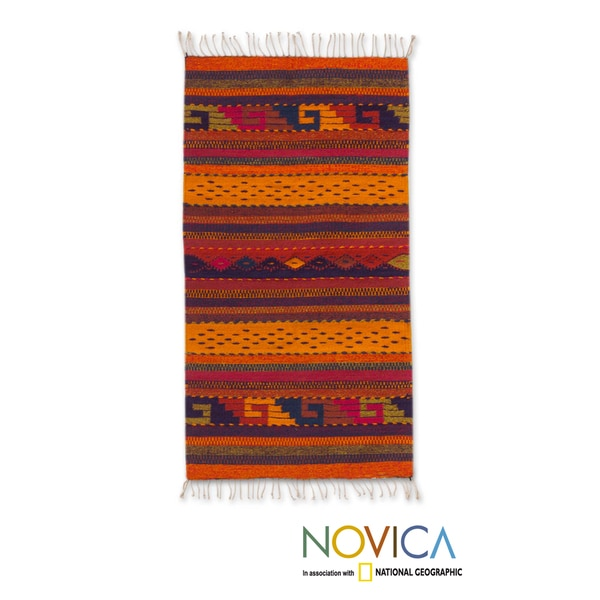Handcrafted Wool 'Stairway to the Sky' Zapotec Rug (2 x 3'5) (Mexico)