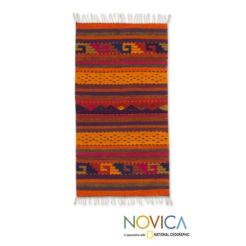 Handmade Stairway to the Sky Zapotec Wool Rug (Mexico) - 2' x 3.3'