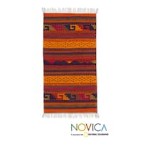 Handmade Stairway to the Sky Zapotec Wool Rug 2 x 3.5 Ft. (Mexico) - 2' x 3.3'