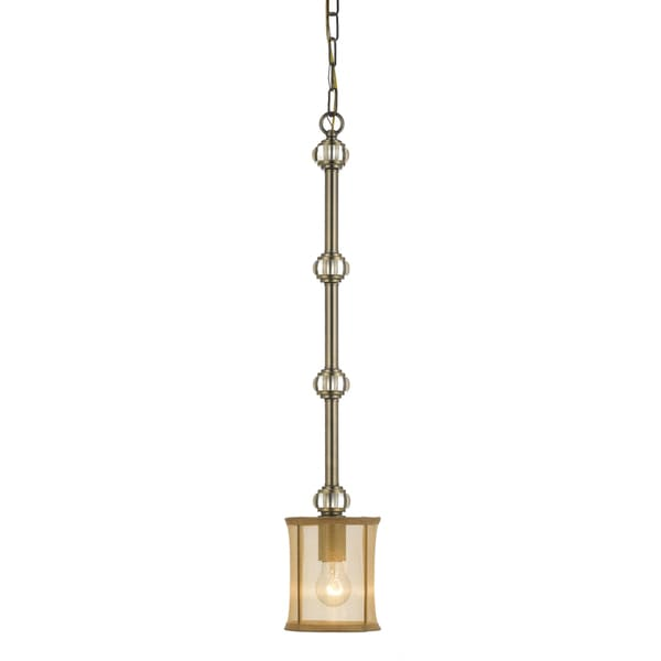 Crystorama Hampton 1-light Antique Brass Silk Shimmer Pendant