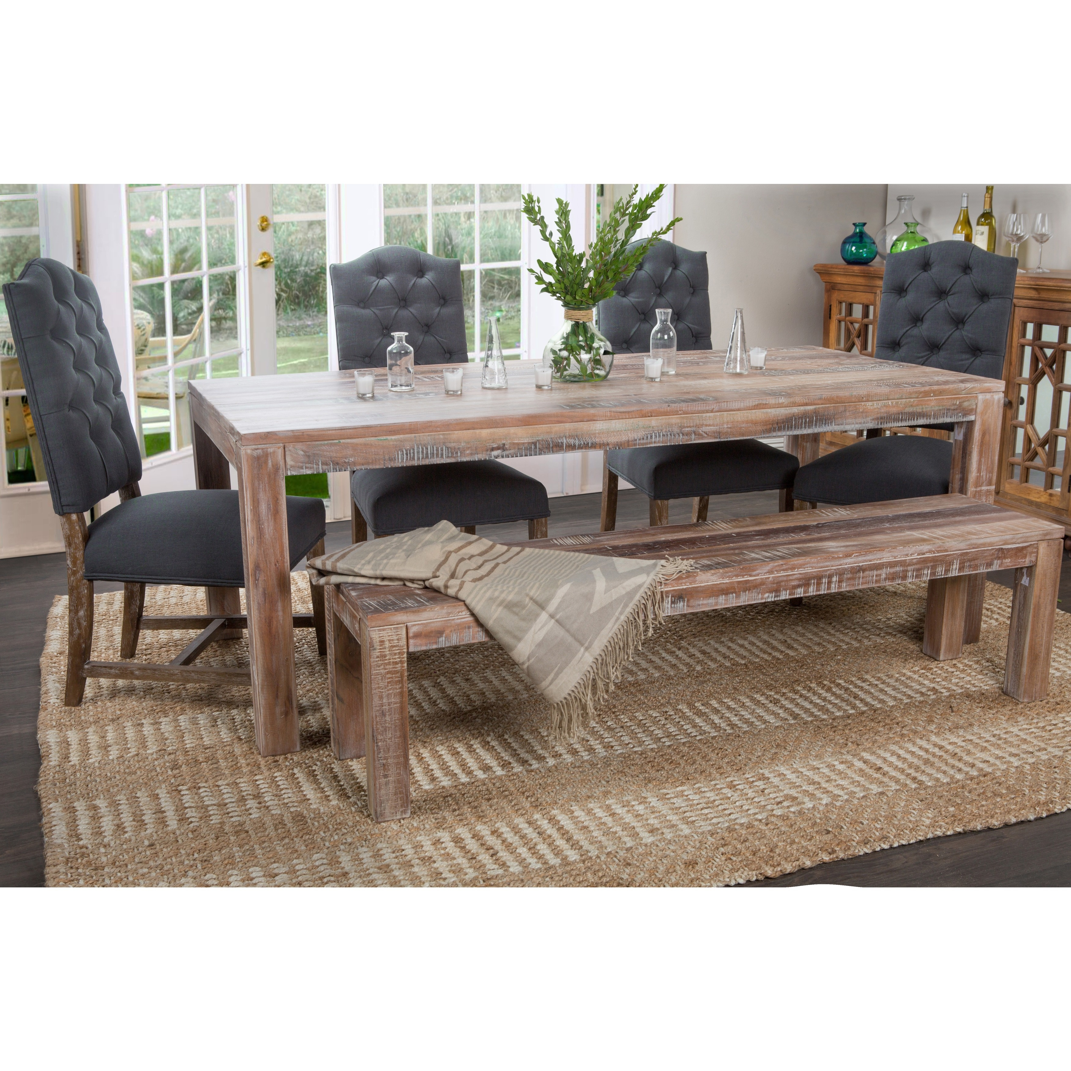 Lime Washed Farmhouse Tables And Benches Bespoke Sizes: Shop Carbon Loft Bell Reclaimed Wood 82-inch Dining Table