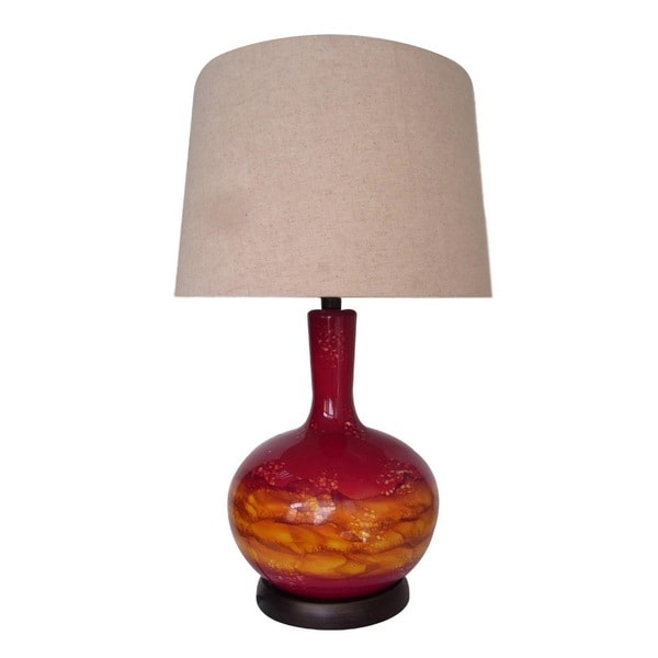 Integrity 26-inch Red and Orange Blown Glass Table Lamp with night Light