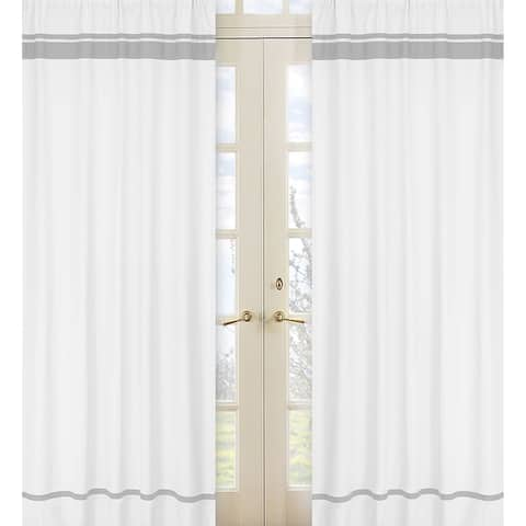 Sweet Jojo Designs White and Gray 84-inch Window Treatment Curtain Panel Pair for White and Gray Hotel Collection - 42 x 84
