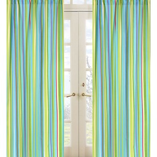 Sweet Jojo Designs Turquoise, Green, Yellow, Pink and White Stripe Layla 84-inch Window Treatment Curtain Panel Pair - 42 x 84