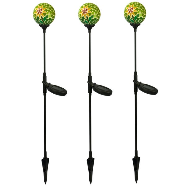 Paradise Solar Powered Green Mosaic Glass Ball Light (Set of 3)
