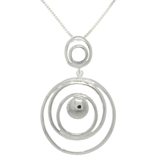 Carolina Glamour Collection Sterling Silver Multi Circle Drop Necklace