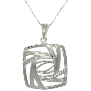 Carolina Glamour Collection Sterling Silver Stylized Square Necklace
