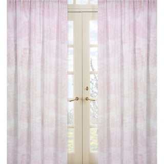 Sweet Jojo Designs Pink and White 84-inch Window Treatment Curtain Panel Pair for Pink French Toile Collection