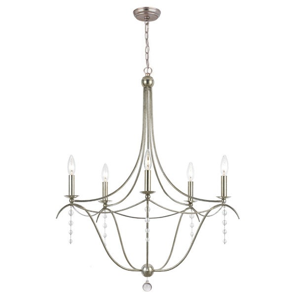 Crystorama Metro Collection 5-light Antique Silver Chandelier