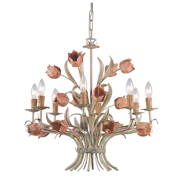 Crystorama Southport Collection 8light Sage Rose Chandelier – Rose Chandelier
