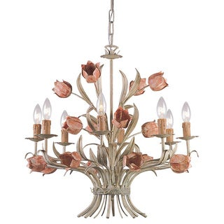 Crystorama Southport Collection 8-light Sage/ Rose Chandelier