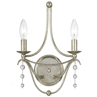 Crystorama Metro Collection 2-light Antique Silver Bath/ Wall Sconce