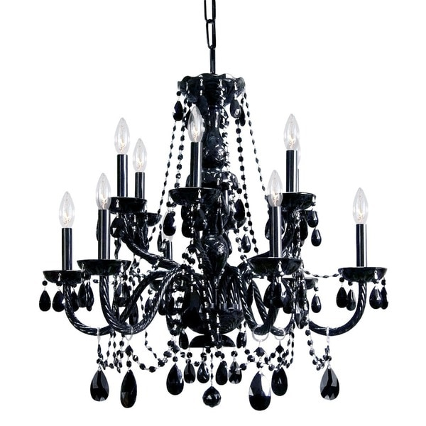 Crystorama Transitional 12 light Black Crystal Chandelier