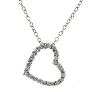 City by City City Style High-Polish Silvertone Clear Cubic Zirconia Open Heart Necklace