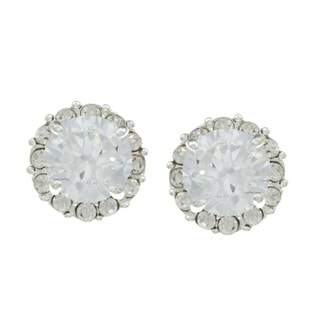 City by City City Style Silvertone Cubic Zirconia and Crystal Stud Earrings