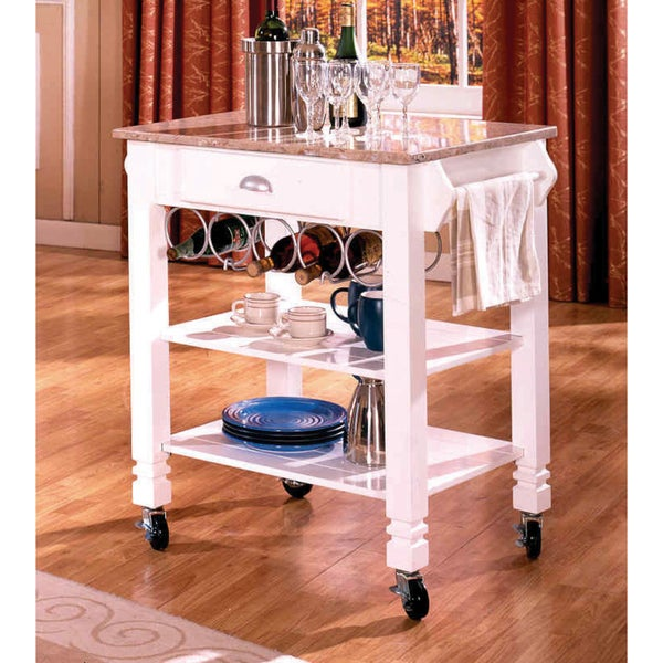 Superieur Shop White Marble Veneer Mobile Kitchen Island   Free Shipping Today    Overstock   7857635