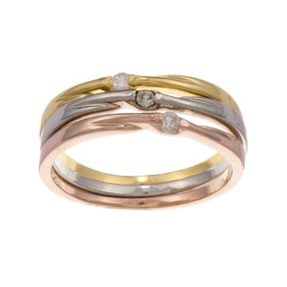 City by City City Style Plated Cubic Zirconia 3-piece Stackable Ring Set