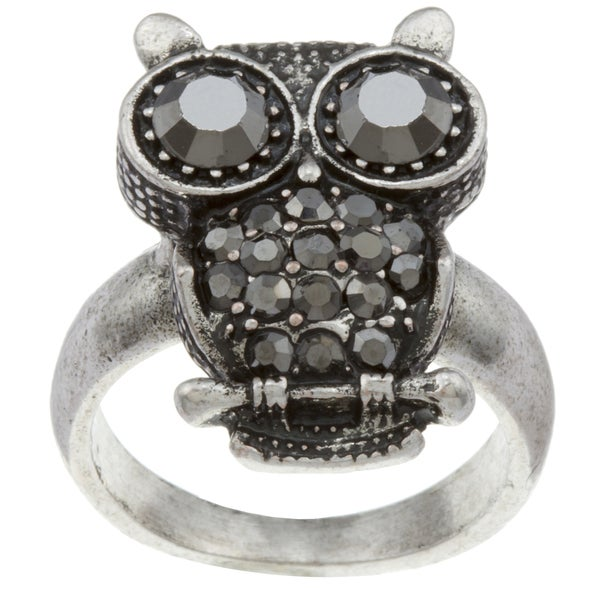 City by City City Style Silvertone Brown Hematite Owl Ring