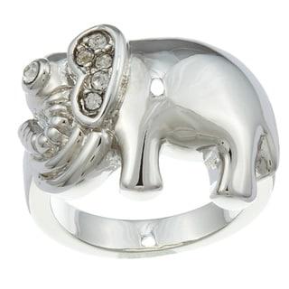 City by City City Style Silvertone Cubic Zirconia Elephant Ring
