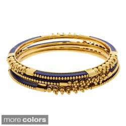 NEXTE Jewelry Goldtone Orange or Navy Lucite 3-piece Bangle Set
