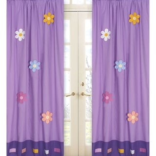 Sweet Jojo Designs Purple, Yellow, Pink, Turquoise, Green and Orange Daisies 84-inch Window Treatment Curtain Panel Pair