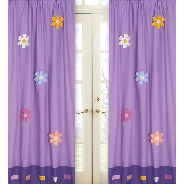 Sweet Jojo Designs Purple Yellow Pink Turquoise Green And Orange Daisies 84 Inch Window