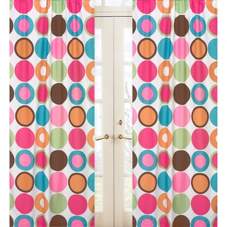 Sweet Jojo Designs Pink, Lime, Turquoise, Brown, Orange and White Deco Dot 84-inch Window Treatment Curtain Panel Pair
