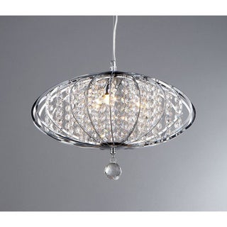 'Pan' Chrome and Crystal 3-light Chandelier