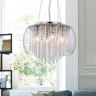 'Odysseus' Chrome and Crystal 5-light Chandelier