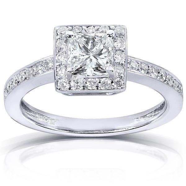 Annello by Kobelli 14k White Gold 7/8ct TDW Certified Diamond Engagement Ring (G-H, VS2)