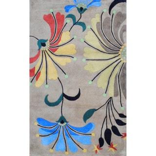 Herat Oriental Indo Hand-tufted Beige/ Light Blue Wool Rug (5' x 8')