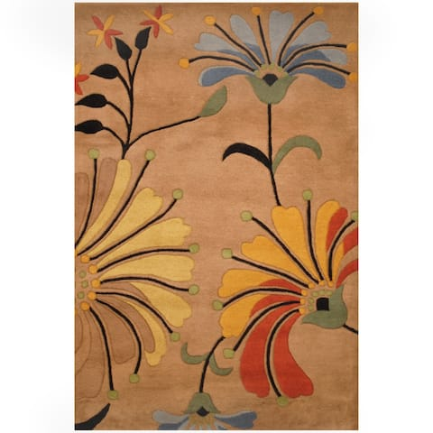 Handmade Beige and Light Blue Wool Rug (India) - 5' x 8'