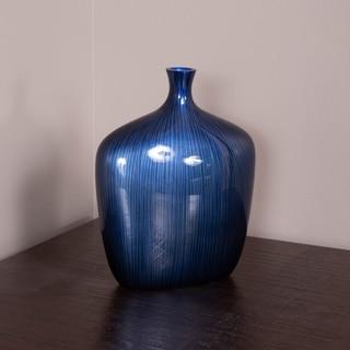 Small Sleek Cobalt Blue and Black Vase