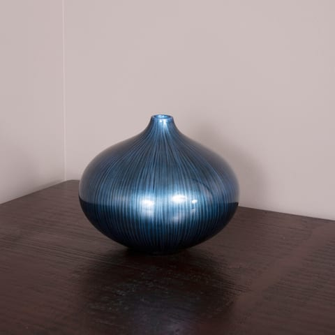 Arctic Blue Lacquered Wood Vase