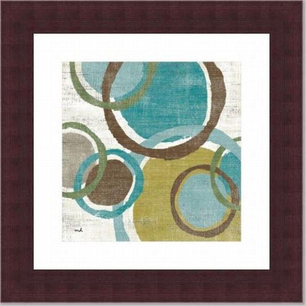 'Vintage Bubbles I' Geometric Walnut Framed Print
