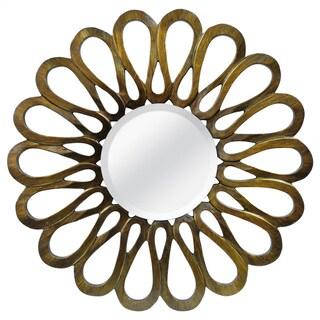 Flower Petal Bronze Round Mirror