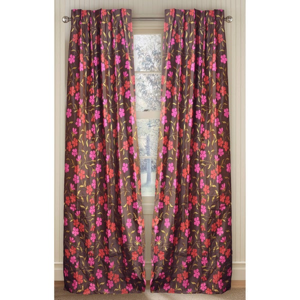 Cottage Home Silk Floral Print 96-inch Curtain Panel