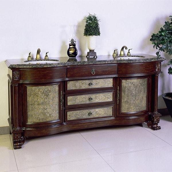 Granite Top-72 inch Double Sink Bathroom Vanity